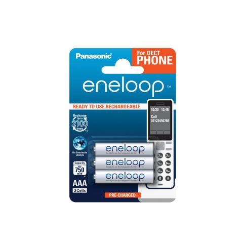 Product Main Image model eneloop AAA 750 mAh for DECT single blister 3 pieces