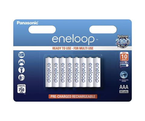Product Main Image model eneloop AAA 750 mAh wide blister 8 pieces