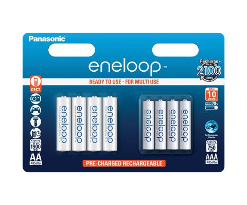 Product Main Image model eneloop AA 1900 mAh 4 pieces and AAA 750 mAh 4 pieces wide blister